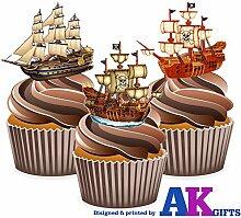 Pirate navires Lot de 12 décorations comestibles en gaufrette pour cupcakes
