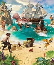 Piraten Abenteuer - Fototapete - Walltastic© (Wandsticker Wanddekoration Wohndeko Wohnzimmer Kinderzimmer Schlafzimmer Wand Aufkleber)