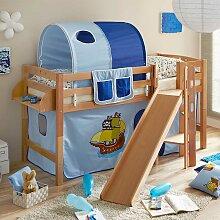 Piraten Kinderbett in Blau Rutsche
