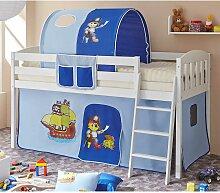 Piraten Kinderbett in Blau und Weiß Kiefer