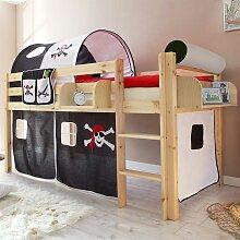 Piraten Kinderbett mit Tunnel und Vorhang Schwarz
