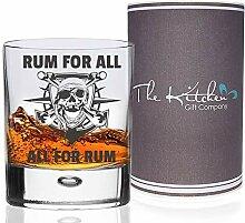 """Piraten-Rum-Glas mit englischem Schriftzug """"Rum"""
