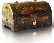 Piraten-Schatztruhe von Thunderdog - Holztruhe braun - Handarbeit Vintage mit Schloss 24x16x16cm - das ideale Geschenk (mittel mit Schloss)