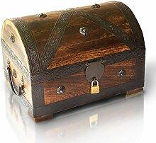 Piraten-Schatztruhe von Thunderdog - Holztruhe braun - Handarbeit Vintage mit Schloss 28x20x20cm - das ideale Geschenk (groß mit Schloss)