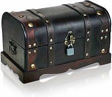Piraten-Schatztruhe von Thunderdog - Holztruhe braun - Handarbeit Vintage mit und ohne Schloss verschiedene Größen - das ideale Geschenk unsere Schatzkiste (Columbus Stoff)
