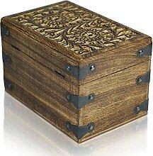 Piraten-Schatztruhe von Thunderdog - Holztruhe braun - Handarbeit Vintage mit und ohne Schloss verschiedene Größen - das ideale Geschenk (Double Flower L 23x15x15cm)