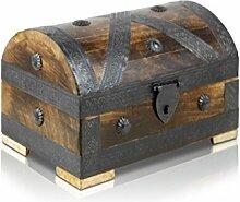 Piraten-Schatztruhe von Thunderdog - Holztruhe braun - Handarbeit Vintage 24x16x16cm - das ideale Geschenk (mittel)