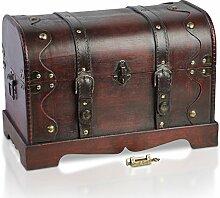 Piraten-Schatztruhe von Thunderdog - Holztruhe braun - Handarbeit Vintage mit und ohne Schloss verschiedene Größen - das ideale Geschenk unsere Schatzkiste (Frisco XL 40x23x27cm)