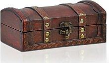 Piraten-Schatztruhe von Thunderdog - Holztruhe braun - Handarbeit Vintage mit und ohne Schloss verschiedene Größen - das ideale Geschenk unsere Schatzkiste (Atlanta S)