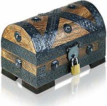 Piraten-Schatztruhe von Thunderdog - Holztruhe braun - Handarbeit Vintage mit Schloss 20x11x11cm - das ideale Geschenk (klein mit Schloss)