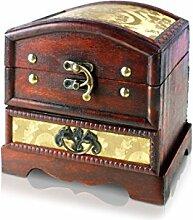 Piraten-Schatztruhe von Thunderdog - Holztruhe braun - Handarbeit Vintage mit und ohne Schloss verschiedene Größen - das ideale Geschenk unsere Schatzkiste (Indira 2)