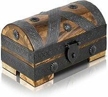 Piraten-Schatztruhe von Thunderdog - Holztruhe braun - Handarbeit Vintage 20x11x11cm - das ideale Geschenk (klein)