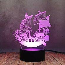 Piratenschiff-Lampe, 3D-LED-Nachtlicht für