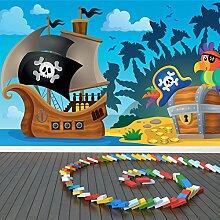 Piratenschiff Wandbild Piratenschatz Foto-Tapete Kinderzimmer Wohnkultur Erhältlich in 8 Größen XXX-Groß Digital