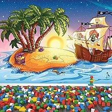 Piratenschiff Wandbild Schatzinsel Foto-Tapete Kinderzimmer Wohnkultur Erhältlich in 8 Größen Extraklein Digital