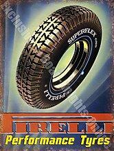 Pirelli Performance Reifen Auto & Motorrad Vintage Garage Wandschild aus Metall/Stahl, stahl, 20 x 30 cm
