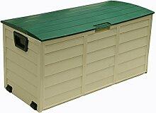 piushopping Sitztruhe Truhe Aufbewahrungsbox aus Harz stoßfest mit Rollen cm. 114x 51x 56h