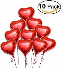 PIXNOR 10 Stück Folie Helium-Luftballon Rot