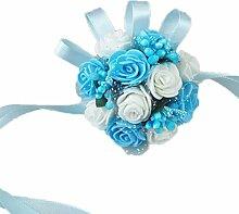 PIXNOR Handgelenk Blume Braut Perlenarmband Party Prom Hochzeit Zubehör (blau + weiß)