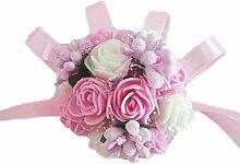 PIXNOR Handgelenk Blume Braut Perlenarmband Party Prom Hochzeit Zubehör (rosa + weiß)