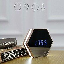 Pixnor Spiegel Wecker Uhr digital Multifunktion