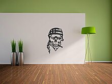 Pixxprint American Skull Wandaufkleber Dekoration für Wohn/Schlaf -und Kinderzimmer, 600 x 390 mm