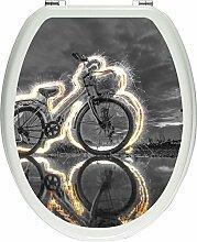 Pixxprint Fahrrad Steht unter Feuer schwarz/weiß