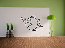 Pixxprint Fisch mit Blasen Wandaufkleber Dekoration für Wohn/Schlaf -und Kinderzimmer, 600 x 410 mm