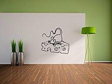 Pixxprint Maus mit Käse Wandaufkleber Dekoration für Wohn/Schlaf -und Kinderzimmer, 600 x 570 mm