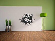 Pixxprint Piratenschädel Wandaufkleber Dekoration für Wohn/Schlaf -und Kinderzimmer, 600 x 500 mm