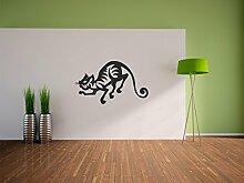 Pixxprint Schleichende Katze Wandaufkleber Dekoration für Wohn/Schlaf -und Kinderzimmer, 600 x 350 mm