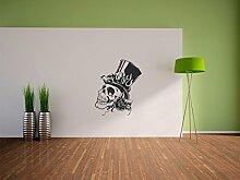 Pixxprint Totenkopf mit brennendem Zylinder Wandaufkleber Dekoration für Wohn/Schlaf -und Kinderzimmer, 600 x 500 mm