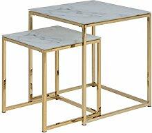 PKline 2er Set Beistelltisch ALMAZ Glastisch