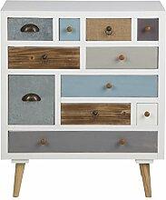 PKline Holz Kommode mit 11 Schubladen Sideboard
