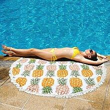PL.PY. Sommer Große Runde Strandtuch Baumwolle Quaste Dicke Dicke Strandmatte,3