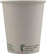 PLA Kaffeebecher weiss | 50 Stück Pappbecher 200