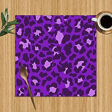 Placemats Set of 6,Leopard Design Abstract
