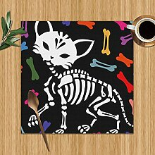 Placemats Set of 6,Lovely Cat Skeleton Holidays
