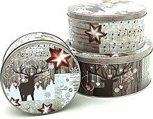 Plätzchendosen Set 3 Stück Weihnachten Gebäckdose in beige mit Rentier und Noten Metall Keksdose Vorratsdose Aufbewahrungsbox Plätzchen Aufbewahrung Geschenkbox Blechdose Weihnachtsbox Dose Typ394