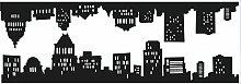 PLAGE 140907 3XL Großer Aufkleber New York Slyline, Vinyl, schwarz, 60 x 0.2 x 170 cm