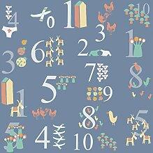 Plage Blaue Panorama-Tapete 250 Zahlen, 2,5x2,5m