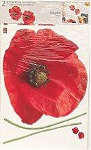 Plage Mohnblumen-Aufkleber, mittelgroß