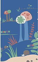 Plage Panorama-Tapete für Kinder-Blaue Pilze,