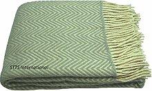 Plaid 100% reine Neuseelandwolle 140 x 200 cm Plaid Wolldecke Kuscheldecke Überwurf Tagesdecke Alle Farben Lyons (Hellgrau/Olive-Beige)