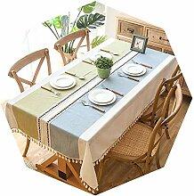 Plaid Dekorative Leinen-Tischdecke mit Quaste,