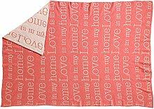 PLAID Tagesdecke - Kuscheldecke aus Lammwolle - Love is my home - 170 x 130 cm - Rosa/Beige