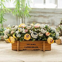 Plamzeyl Kunstblumen Retro Farbe Holz in Pot