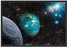 Planet Erde im Kosmos im Schattenfugen