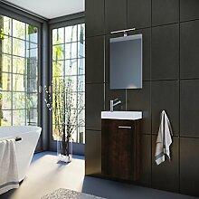 Planetmöbel Badmöbel Set Gäste WC Gäste Bad Waschtischunterschrank Spiegel mit LED Leuchte Waschbecken 40 cm braun (Wenge)
