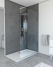 PLANO Duschwand - 120 x 200 cm - verchromte